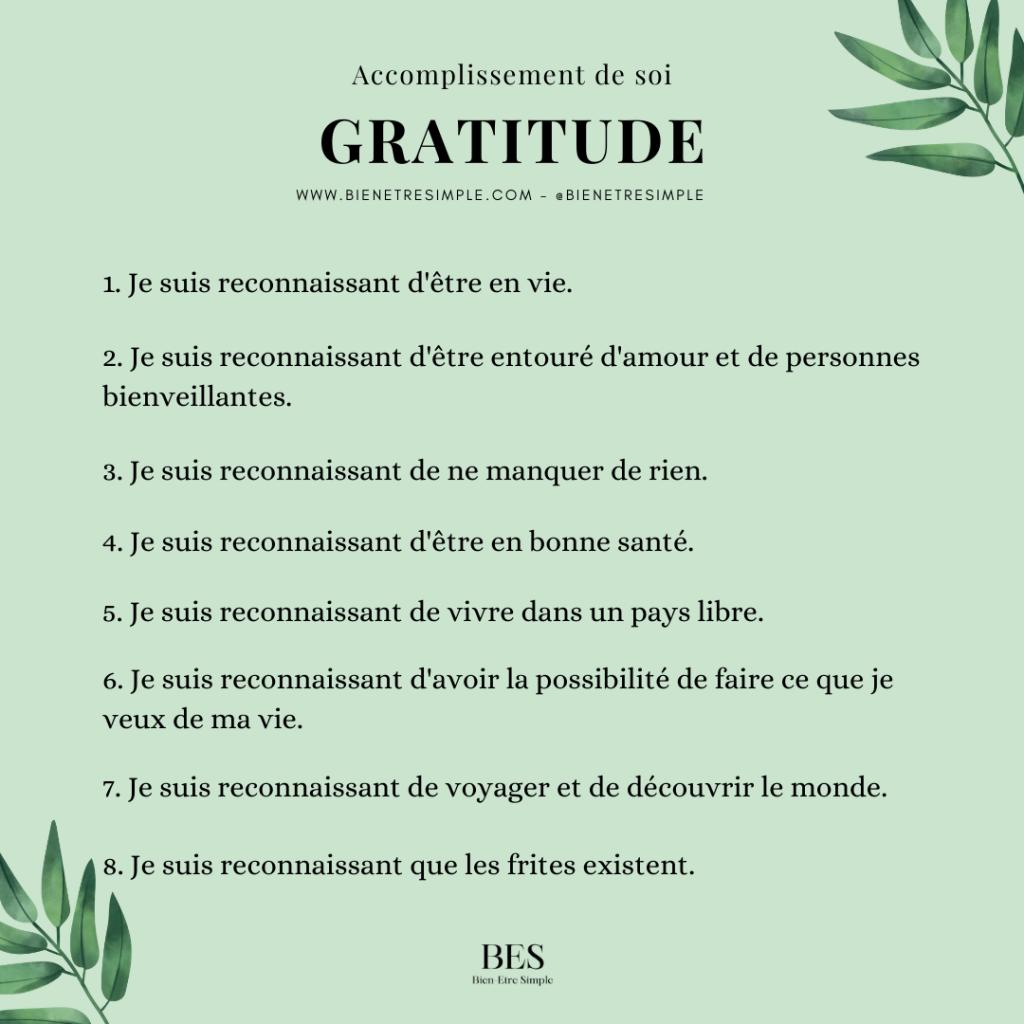 accomplissement de soi, gratitude
